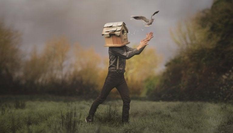 Man met een vogelhuis als hoofd