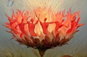 Brandende boom waar mensen in te zien zijn, als symbool voor autonomie