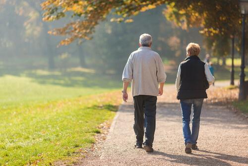 Ouder koppel aan de wandel