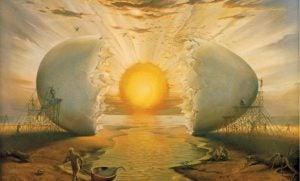Gebroken ei waarbij de dooier dient als zon, als symbool voor onze autonomie