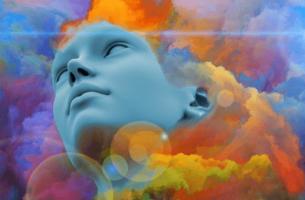 Het gezicht van een vrouw die lijdt aan pathologische angst omringd door kleurrijke wolken