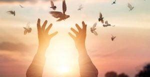 Man die vogels vrijlaat, als verwijzing naar de levenswetten van de Tolteken