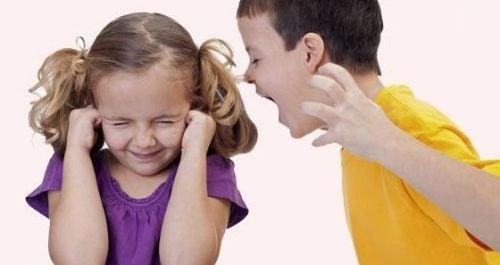 Jongen schreeuwt tegen zusje