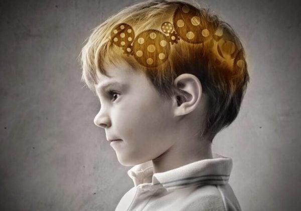 Tandwielen in de hersenen van een jongetje