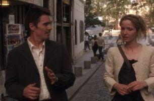 Pratende man en vrouw in een straat