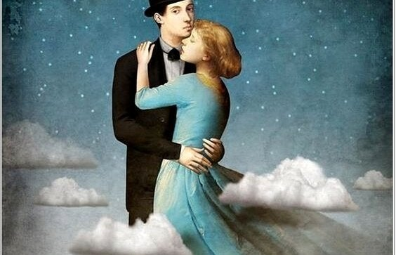 Een man en een vrouw die samen dansen in de wolken, want dit is een van hun oude patronen