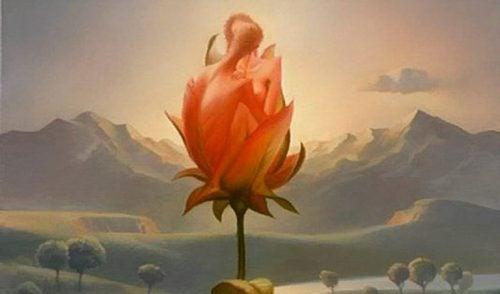 Twee mensen in een bloem die de evolutie van romantische liefde symboliseren