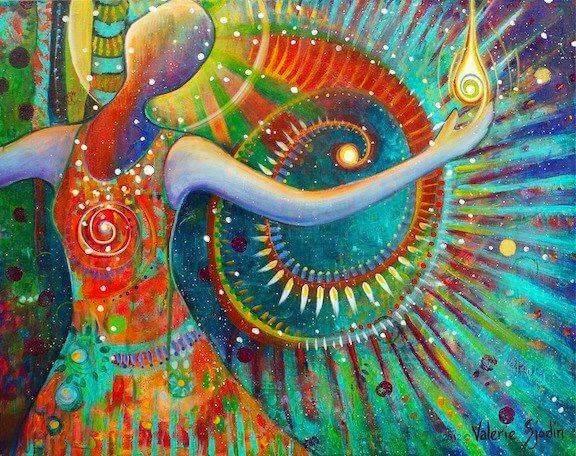 Kleurrijk schilderlijk van een vrouw, dat verwijst naar een van de levenswetten van de Tolteken