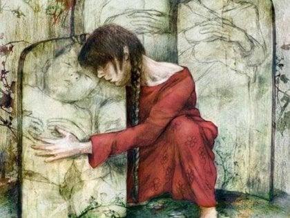 Meisje dat een steen waar een baby in is gekerff omarmt, wat als er sprake is geweest van seksueel misbruik?