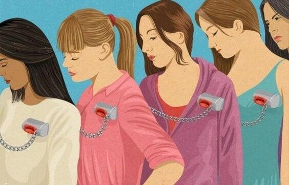 Vrouwen die zijn vastgebonden en het jezelf gemakkelijk maken