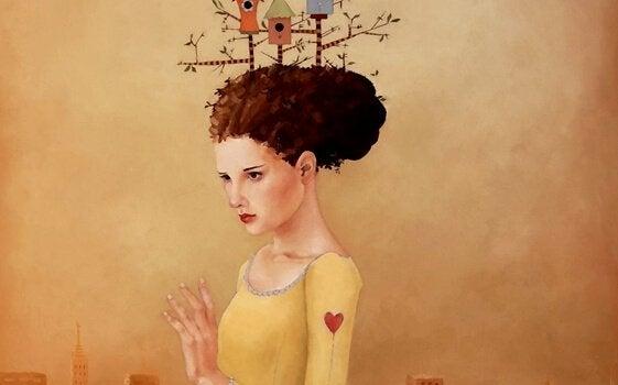 Vrouw met vogelnestjes in haar haar en een hartje op haar arm, omdat ze een van de dapperste mensen is