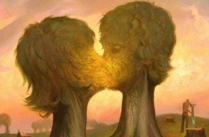 Zoenende bomen die de evolutie van romantische liefde symboliseren