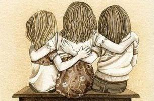 Kinderen die elkaar vasthouden
