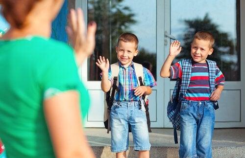De eerste dag op school