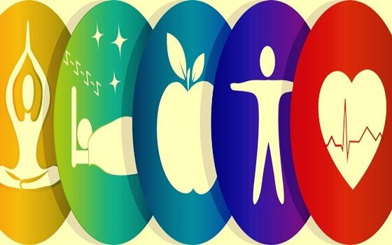 Iconen die wellness symboliseren
