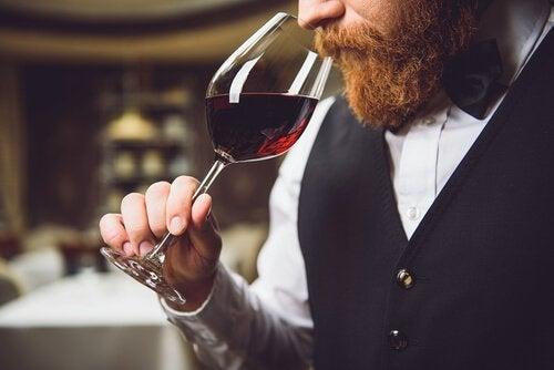 Sommelier ruikt aan wijn