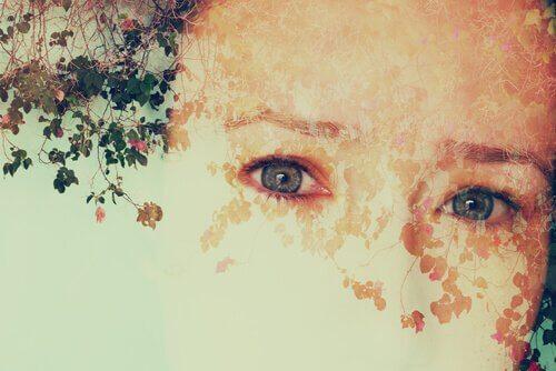Schilderij van half gezicht