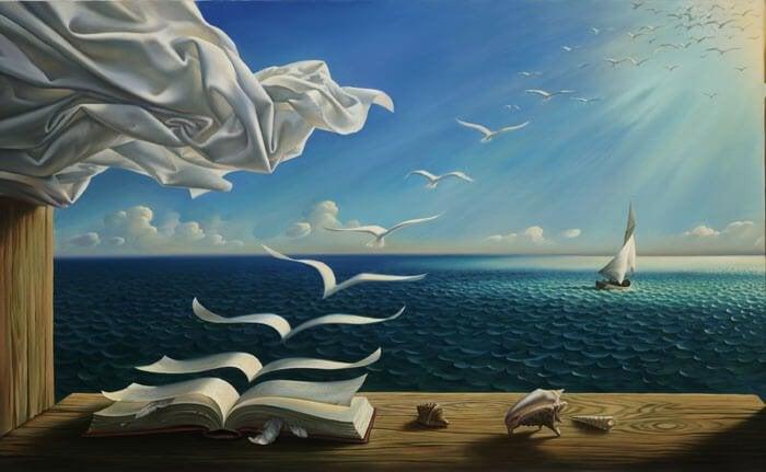 Schilderij van een surrealistische scene