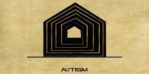 Autismespectrum voorgesteld als een huis