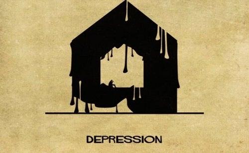 Depressie voorgesteld als een huis