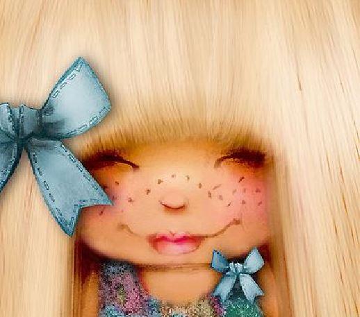 Blond meisje met blauwe strik
