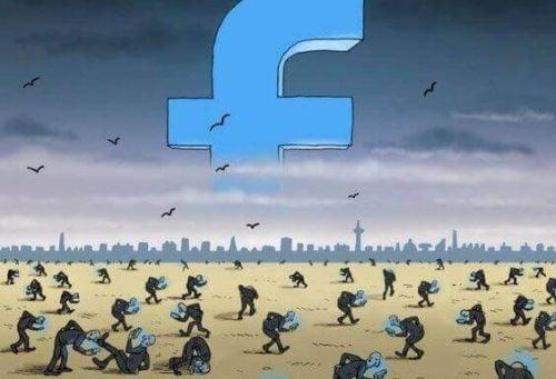 Mensen die zwoegen voor Facebook