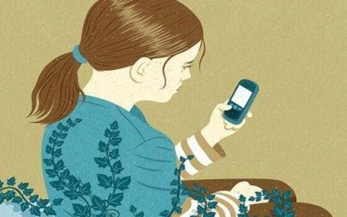 Meisje met haar mobiel