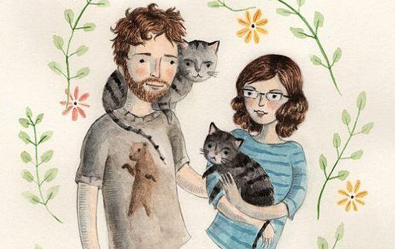 Stel met katten