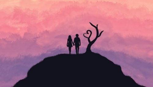 Verliefd stel representeert ware liefde