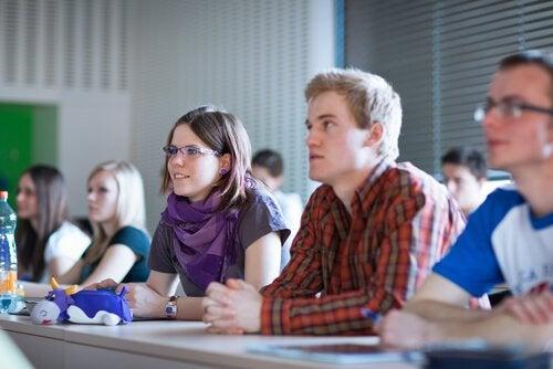 Studenten in de les