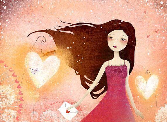 Vrouw met liefdesbrief in haar hand