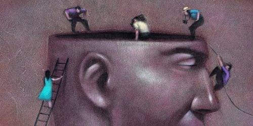 Mensen aan het werk in een hoofd