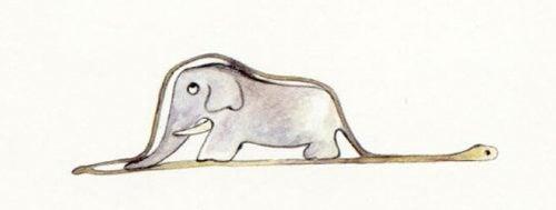 Kindertekening van een olifant in een slang