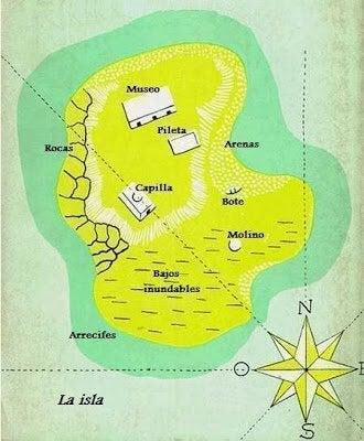 Een kaart uit Morels Uitvinding