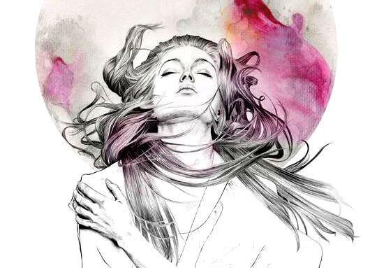 Vrouw omhelst zichzelf