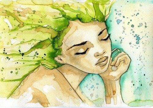 Waterverf schilderij van een denkende vrouw