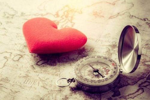 Hart met een kompas