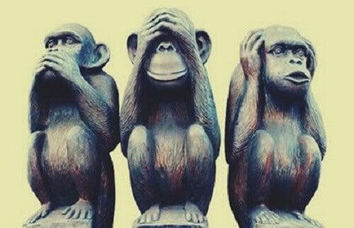 De metafoor van de drie wijze aapjes, een richtlijn voor een gelukkig leven