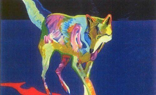 Een getekende, gekleurde wolf