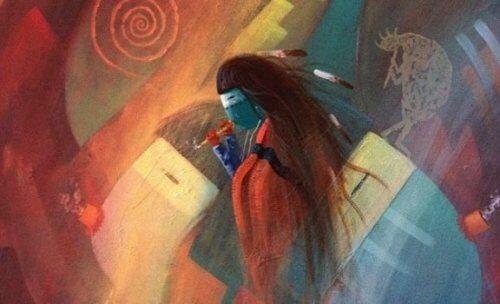 Een abstract getekende indiaan