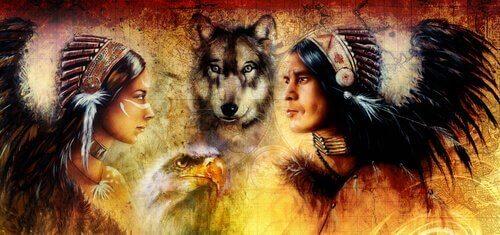 Twee indianen en een wolf