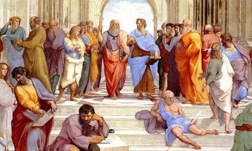 De school van Athene schilderij