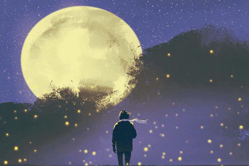Man kijkt naar de sterren en de maan