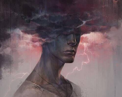 Man met zijn hoofd in een donderwolk
