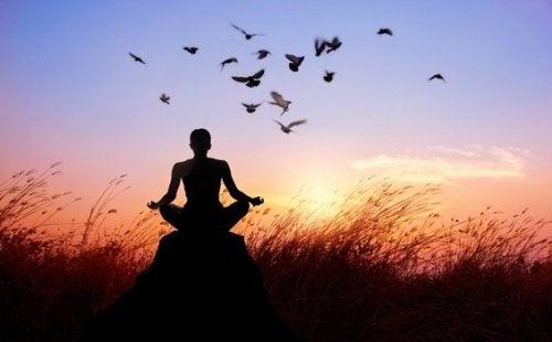 Man mediteert bij zonsondergang