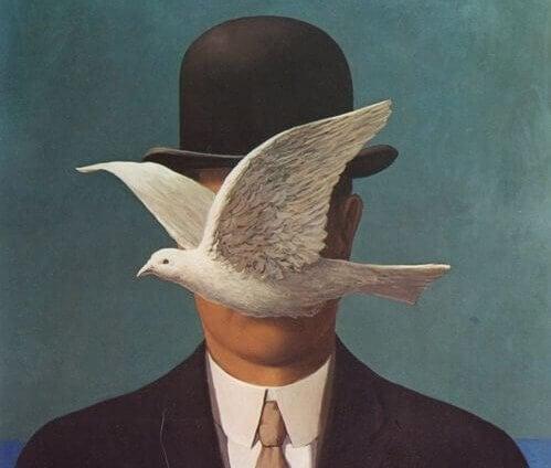 Schilderij van man met duif