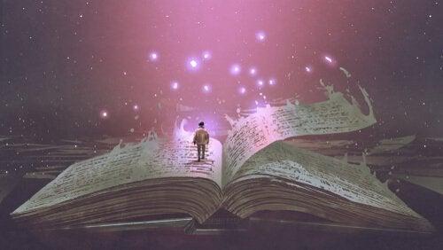 Man die in een magisch boek staat