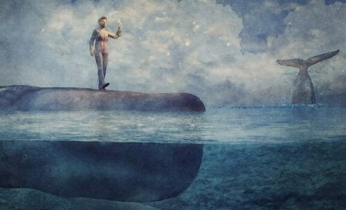Man staat op walvis