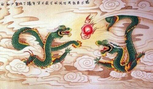 Twee vechtende draken