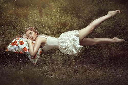 Vrouw slaapt in een weiland